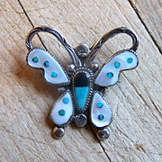 Large Vintage Native American Sterling Silver Inlaid Butterfly Brooch