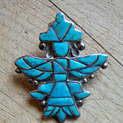 Old Zuni Sterling Silver And Turquoise Knifewing Pin