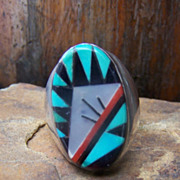 Large Vintage Zuni Sterling Silver Inlaid Man's Ring