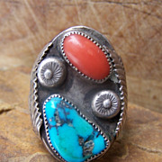 Very Large Signed Vintage Native American Sterling Silver, Turquoise And Coral Man's Ring