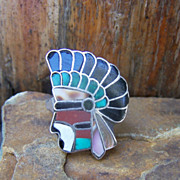 Old Zuni Sterling Silver Inlaid Indian Ring