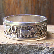 Vintage Navajo Floyd Becenti Sterling Silver Storyteller Ring-Size 13