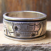 Signed Navajo Sterling Silver Storyteller Ring