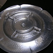 Vintage Aluminum Rotating Server Lazy Susan with Glass Insert