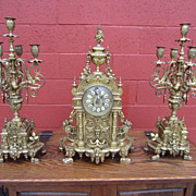 French Antique Bronze 3 Piece Mantel Clock Antique Candelabras Clock