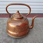 Large French Antique Copper Tea Kettle Coffee Pot