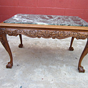 French Antique Chippendale Coffee Table Marble Top Antique Furniture