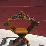Antique Savonarola Arm Chair Carved Antique Furniture