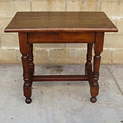 Beautiful Antique Solid Oak Spanish Rustic Table Library Table Kitchen Table Desk