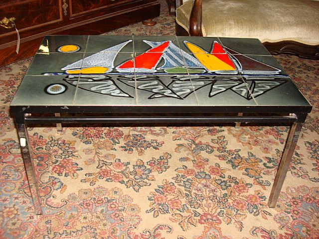 Original Dutch Chrome Tile Top Coffee Table Retro modern