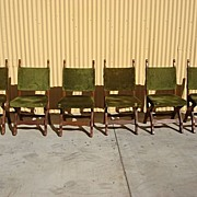 Antique Dining Furniture Set of 6 Rustic Oak Dining Chairs Arts and Crafts Antique Mission ...