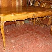 Hand Carved Antique Country French Draw Leaf Dining Table Library Table Desk