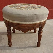 American Antique Victorian Needle Point Foot Stool East Lake Furniture