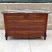 French Antique Marble Top Dresser Chest of Drawers Commode Antique Bedroom Furniture