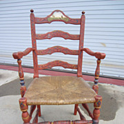 American Antique Ladder Back Arm Chair Pennsylvania Dutch Antique Furniture