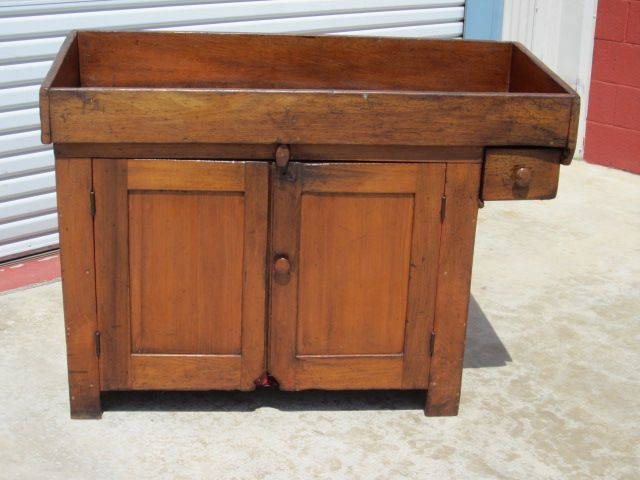 American Antique Dry Sink Cabinet Kitchen Cupboard Antique