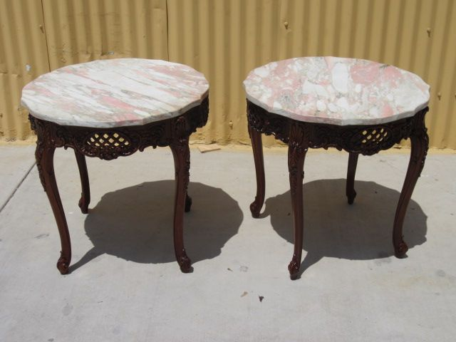 Pair of American Side Tables Accent Tables Lamp Stands French Provincial