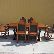 Spanish Antique Dining Set Table Armchairs Side Chairs Antique Furniture