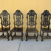 Set of 4 American Antique Ebonized Side Chairs Antique Furniture