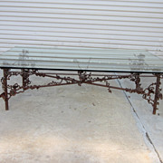 Custom Iron Base Glass Top Coffee Table Vintage Furniture