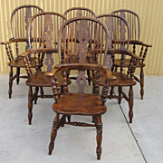 Set of 6 English Windsor Arm Chairs English Dining Room Chairs