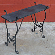 French Antique Side Table Iron Base Stand Antique Furniture
