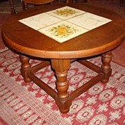Charming French Rustic Mission Style Round Tile Top Coffeetable Coffee Table Side Lamp Table .