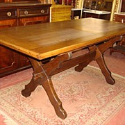 French Antique Rustic Trestle Table Library Table Desk Dining Table Antique Furniture