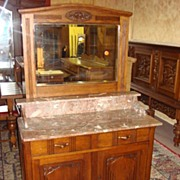 French Art Deco Marble Top Washstand Dresser