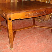 Hand Carved Arts and Crafts Mission Dining Table Library Table Desk