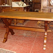 Beautiful Antique French Rustic Monks Trestle Table Mission Arts and Crafts Country