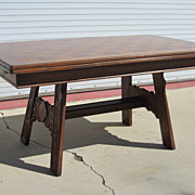 Dutch Antique Draw Leaf Dining Table Library Table Desk Antique Furniture