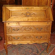 French Antique Break Front Secretary Desk Cabinet