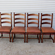 French Rustic Walnut Ladder Back Leather Chairs French Furniture