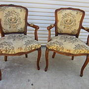 Pair of French Walnut Louis XV Armchairs French  Furniture chairs