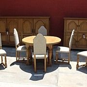 Antique Furniture French Antique Rustic Dining Set Sideboard Server Dining Table Set of Dining
