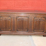 Antique Furniture French hand Carved Antique Chest Trunk Dowry Chest Linen-fold Chest Bench ..