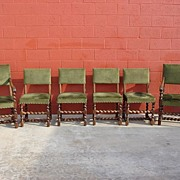 Antique Furniture Set of Six Barley Twist Chairs Dining Chairs Arm Chairs