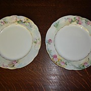 Pair of Decorative ART NOUVEAU C.T. Carl Tielsch GERMAN Porcelain Victorian Plates with Flower