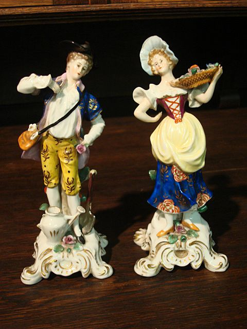 Pair of German Antique Figurines Pair of Antique Figures