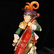 Beautiful Original Dresden Violin Player Figurine Statue