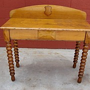 Early American Antique Console Table Sofa Table Antique Spool Desk