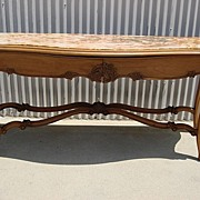 French Antique Carved Marble Top Console Table