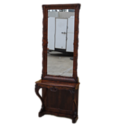 Beautiful Original American Antique Victorian Pier Mirror with Console Table Rare American Bur