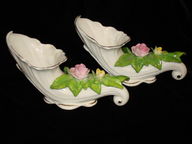 Pair of Beautiful Dresden Cornucopia Floral Vases