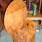 Important Antique American Tramp Art Tilt Top Table Bench - Chair