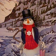 #1 Snowman Skylar Woolscarf 2005 Hallmark Ornament Snowtop Lodge Series New