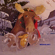 Cool Decade 2004 Moose Rabbit Hallmark Ornament #5 in Series New