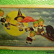 Vintage Halloween Whitney Postcard Pumpkin Children - Postmarked 1915