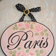 Romantic French Chic Pink HP Roses Paris Sign